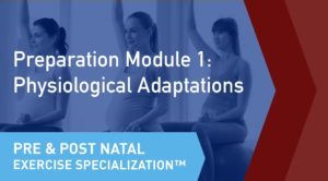 The online learning module cover of the CSEP Pre and Postnatal Exercise Specialization Preparation Module 1