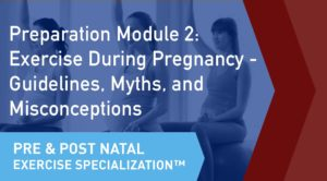 The online learning module cover of the CSEP Pre and Postnatal Exercise Specialization Preparation Module 2